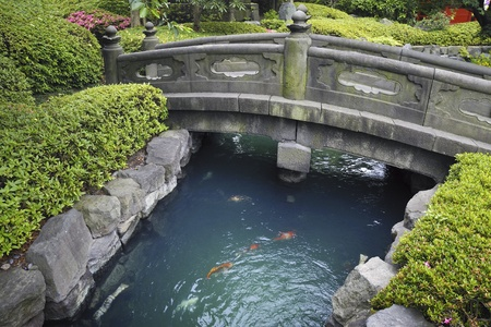 bridge over water: scenic stone bridge over blue water with red fishes in Japanese stone garden