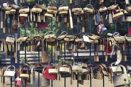 Enoshima Island, Japan -June 7, 2008 : many love padlocks hanged in the park area of famous Enoshima Island