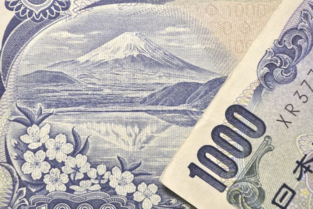 detailed image of mount Fuji and front number from original Japanese 1000 Yen banknote photo