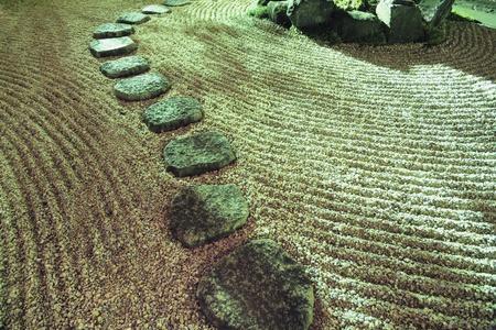 Stone Pathway Between Sand Waves In Zen Garden By Scenic Night ...