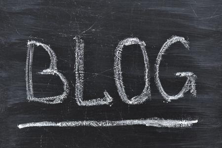 Blog word handwritten on the black chalkboard