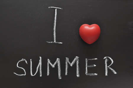 i like my school: I love summer handwritten on school blackboard