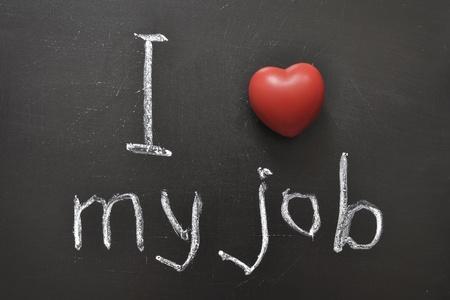 I love my job -  positive concept handwritten on black chalkboard with volume red heart symbol Stock Photo - 12783707