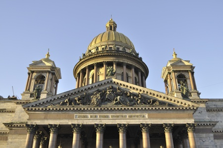 isaac s: south facade of the largest Russian Orthodox cathedral - famous Isaakievskiy Sobor in St Petersburg
