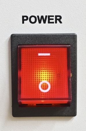 big detailed red power switch Stockfoto