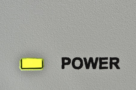 detailed panel board surface with green led and power mark Stock Photo - 13255097