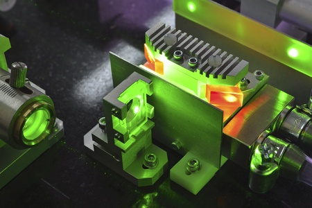 active elements of powerful Ti:Sapphire laser pumped by green light Stock Photo - 13297499