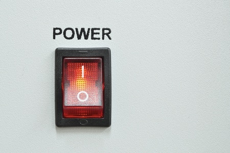 front device panel with detailed red power switch button Stock Photo - 13297507