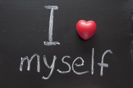 phrase: I love myself phrase handwritten on the school blackboard