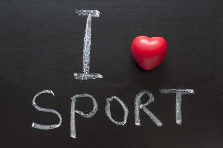 i like my school: I love sport phrase handwritten on the school blackboard