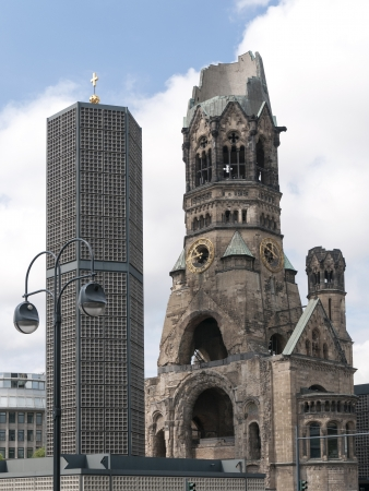 bombed: ruins of the Kaiser Wilhelm Memorial Church in Berlin, destroyed by World War II bombing and preserved as a memorial