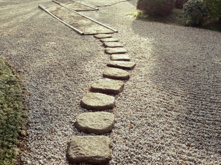 step: stone path in Japanese zen garden Stock Photo