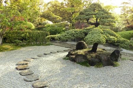 prachtige Zen tuin bij zomerochtend Stockfoto