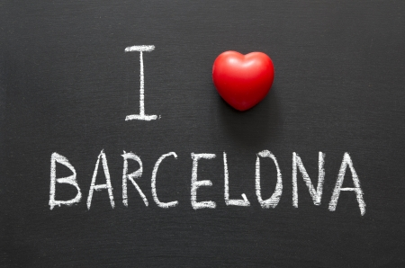 I love Barcelona handwritten on school blackboard photo