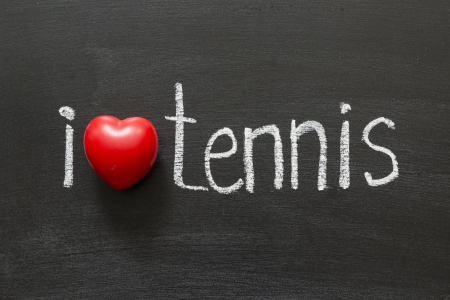 i like my school: I love tennis handwritten on the school blackboard Stock Photo