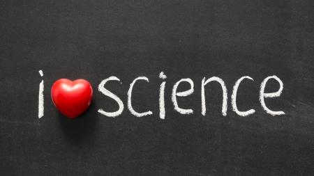 phrase novel: I love science phrase handwritten on the school blackboard