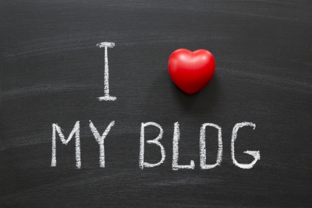 I love my blog handwritten on school blackboard