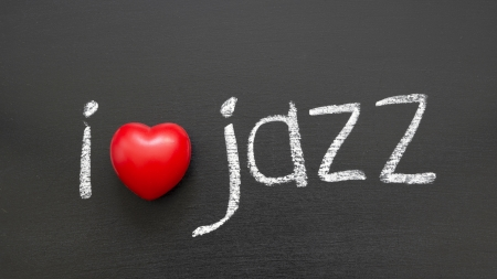 I love Jazz phrase handwritten on the school blackboard photo