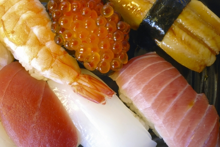 mixed traditional Japanese sushi set, close up shot Stock Photo - 15676370