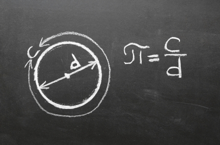 Handwritten on school blackboard definition of main mathematical constant the number PI  It is the circumference of any circle, divided by its diameter  Archivio Fotografico