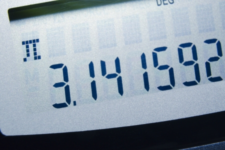 exact science: Pi number on the digital screen; focus on number 3