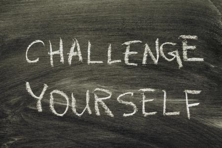 challenge yourself phrase handwritten on school blackboard Stock Photo - 16155883