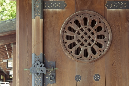 detailed pattern of open wooden door of Japanese temple in Tokyo