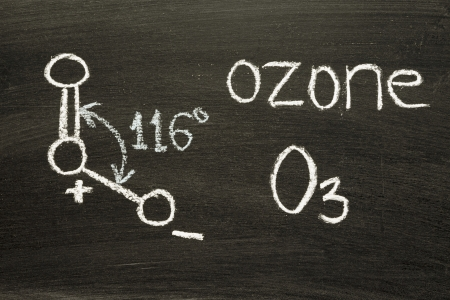 name, chemical formula and structure diagram of Ozone\ handwritten on blackboard
