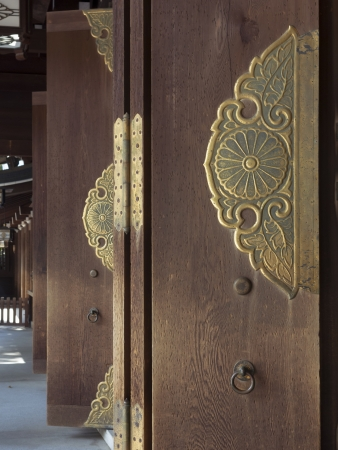 row of open ancient doors of Japanese temple photo