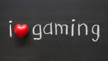 I love gaming handwritten on the school blackboard Stock Photo - 16909336