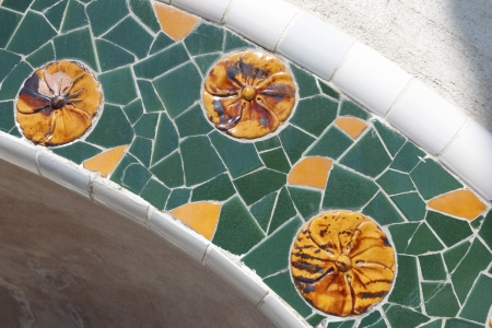 mosaic fragment from famous Park Guell in Barcelona photo