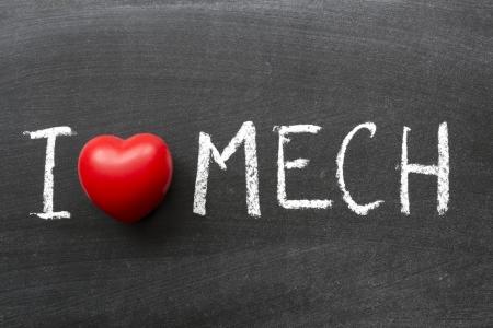 phrase novel: I love mech phrase handwritten on the school blackboard