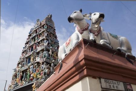 mariamman: exterior fragment of Sri Mariamman Temple located in Chinatown Singapore Stock Photo