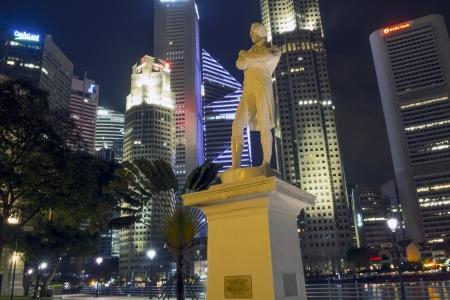 Singapore - January 12,  2013: Statue of Sir Stamford Raffles in Singapore located on Raffles