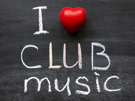 I love club music phrase handwritten on the school blackboard photo