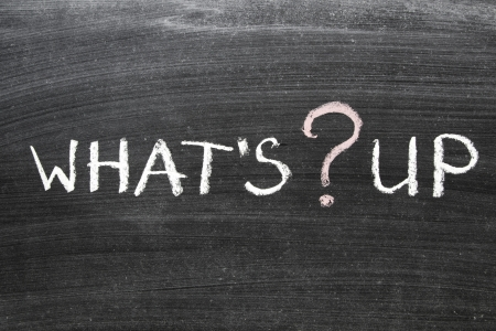what's up question handwritten on the school blackboard Stock Photo - 17960611