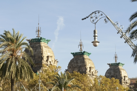 scenic towers rooftops of historical Palau de Justícia building in Barcelona, Spain photo