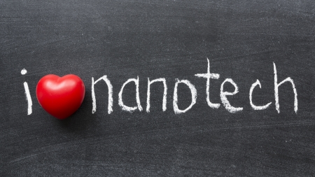 nanotech: I love nanotech phrase handwritten on the school blackboard