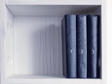 three similar black books with printed numbers on white bookshelf  Stock Photo