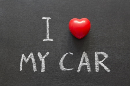 phrase: I love my car phrase handwritten on the school blackboard