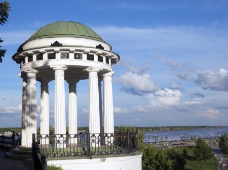the volga river: famous Nektrasovskaya Arbor on the bank of the Volga river in Yaroslavl Stock Photo