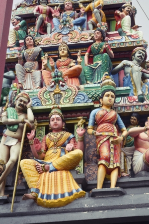 mariamman: fragment of highly decorated entrance gate of Sri Mariamman Temple located in Chinatown  This temple is oldest and most famous Hindu temple in Singapore
