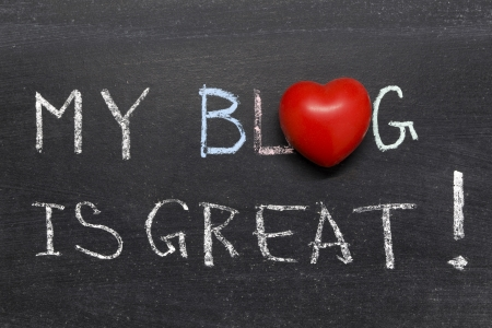 inclination: my blog is great phrase handwritten on the school blackboard Stock Photo