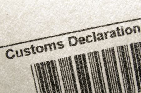 customs: fragment of customs declaration document with bar-code