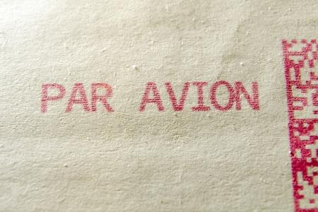 avion: par avion words printed on postage envelope