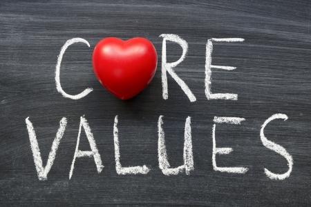 core values phrase handwritten on the school blackboard