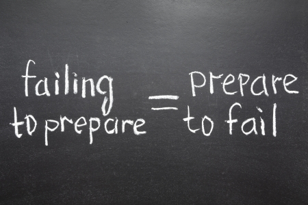 failing: interpretation of famous quote of B  Franklin  By failing to prepare, you are preparing to fail   handwritten on blackboard Stock Photo