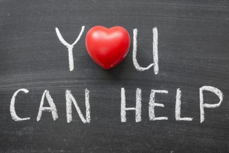 phrase: you can help phrase handwritten on school blackboard