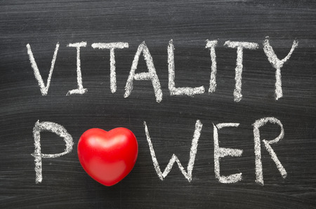 vitality power phrase handwritten on the school blackboard