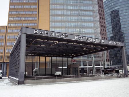 subway entrance: Berlin Potsdamer Platz subway entrance with modern buildings beahind Editorial